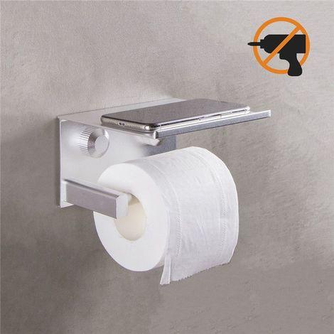 Porte Papier Toilette Auto-adhésif Sans Perçage Etagère de Porte Rouleau Papier Toilette avec Support de Téléphone Derouleur Papier WC