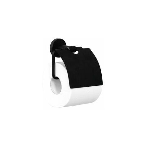 Porte papier toilette avec cache laiton noir mat serie varuna à fixer ou à coller / Couleur: noir mat / Référence: 778999