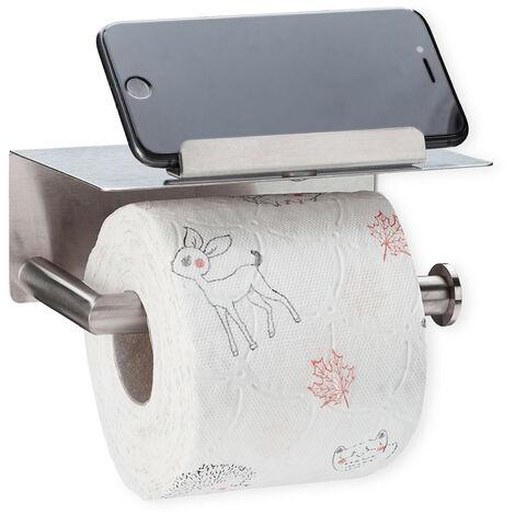 Porte-papier toilette avec support pour portable, inox brossé 430, montage mural, avec & sans perçage, argenté