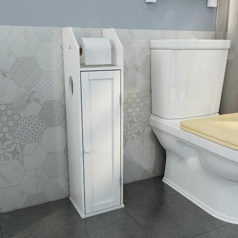 Porte-papier toilette en bois blanc 78 x 20 x 18 cm-Meerveil