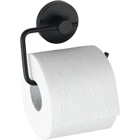 """Porte Papier Toilette mural noir, solution sans perçage, innovation """"Vacuum Loc Plus"""", Milazzo, Noir"""