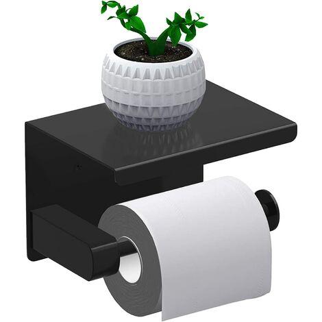 Porte Papier Toilette, Support Papier Rouleau sans Percage Derouleur Papier WC,Distributeur Papier avec Tablette, Acier Inox SUS 304, Colle Auto-adhésive et Mural Pour Salle de Bain (Noir)