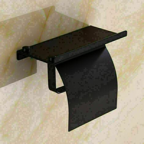 Porte Papier Toilette , Support Papier Toilettes pour Salle de Bain et Cuisine, Acier Inox, Porte Rouleau Toilette Pas de Forage et fixé au mur(noir)