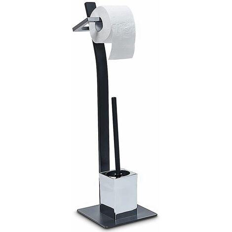 Porte-papier toilette support sur pied pour papier hygiénique distributeur dérouleur avec brosse WC inclue, noir mat - Noir