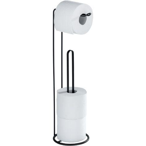 Porte papier toilette sur pied 2 en 1, distributeur papier toilette et rangement papier toilette Lugano, Noir