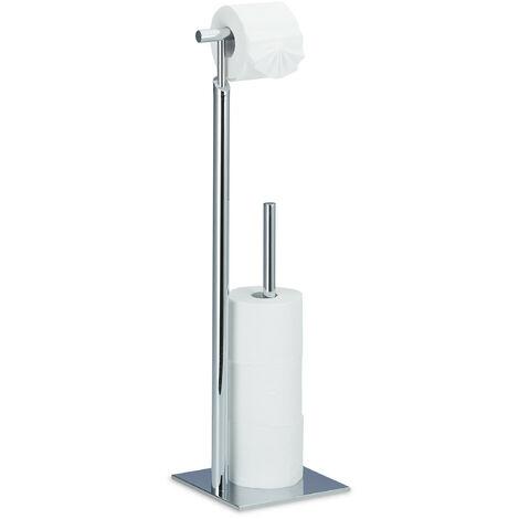 porte-papier toilette sur pied, Distributeur papier toilette, 4 rouleaux de rechange, HLP 71x20x20 cm, argenté