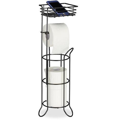 porte-papier toilette, vertical, avec support, 3 rouleaux, moderne, métal, HLP 57,5x18,5x17,5 cm, noir