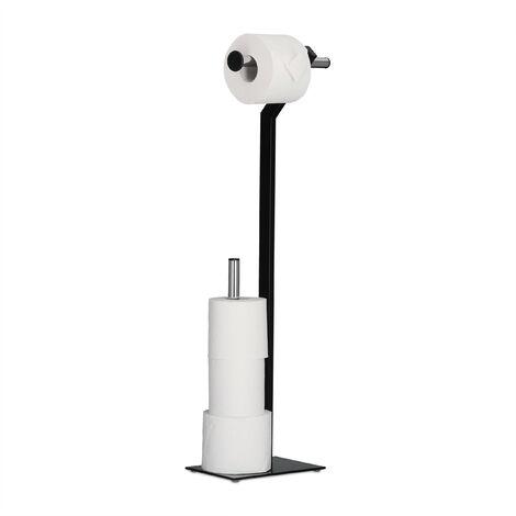 Porte papier toilettes sur pied en m tal chrome support rouleau wc hxlxp 72 x 23 x 13 5 cm - Porte papier toilette noir ...
