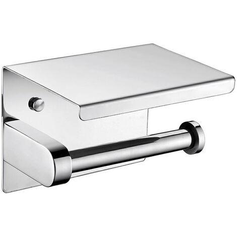 Porte Papier WC en Acier inoxydable avec support téléphone chromée
