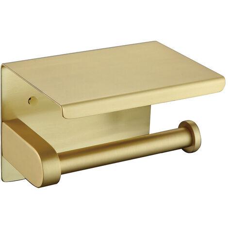 Porte Papier WC en Acier inoxydable avec support téléphone Doré brossé