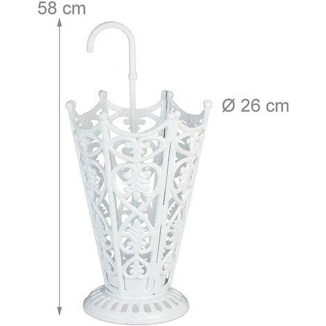 Porte-parapluies design antique en fonte blanc - Blanc