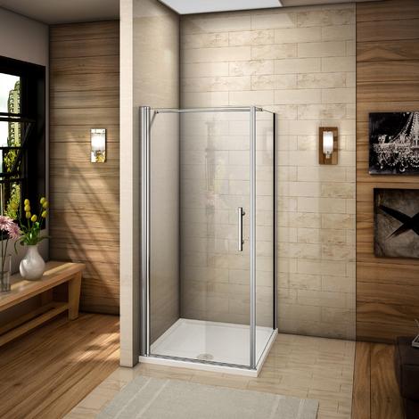 Porte pivotante de douche  paroi  cabine  avec barre de fixation 140cm verre anticalcaire