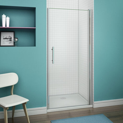 Porte pivotante de douche  paroi en niche verre anticalcaire