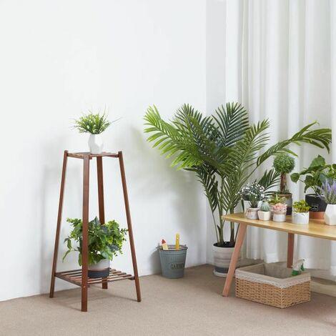 Porte Plante en Bambou - Etagère à Fleurs 32x32x75cm Echelle Intérieur pour Sallon Chambre Bureau