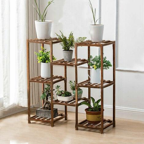 Porte Plante en Bois 25x84x70cm Support Pot de Fleur pour Extérieur Intérieur - Étagère Echelle pour Plantes Grimpantes Aromatiques