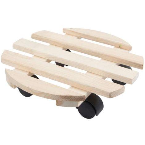 Porte plante en bois rond à roulettes Toolland Ø30cm