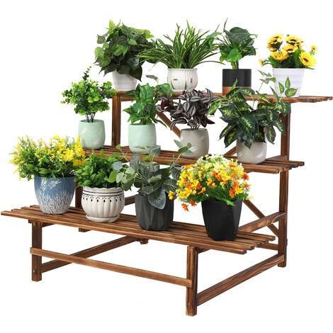 Porte Plante Fleur en Bois - Echelles Fleurs 3 Etage - Escalier Support de Pot de Fleurs pour Jardin Terrasse