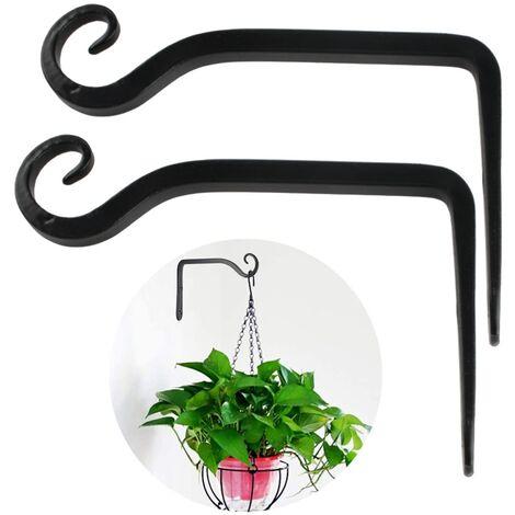 Porte-plante porte-fleur suspendu crochet mural en fer crochet de support mural suspendu pour planteurs suspendus nichoirs lanterne carillons éoliens appliques murales, style 1
