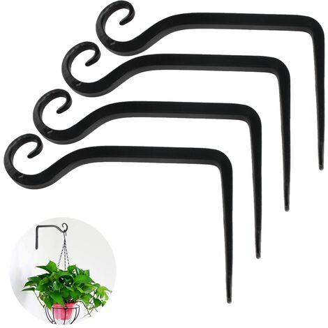Porte-plante porte-fleur suspendu crochet mural en fer crochet de support mural suspendu pour planteurs suspendus nichoirs lanterne carillons éoliens appliques murales, style 2