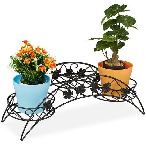 Porte-plantes, 3 marches, escalier à fleurs antique, intérieur et extérieur, fer, HLP 21 x 55 x 19 cm, noir