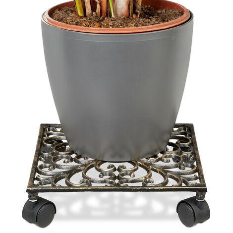 Porte-plantes à roulettes en fonte support pot de fleurs 4 roues plateau roulettes 27,5 x 27,5 cm carré en métal design antiquités campagne stable et résistant, bronze