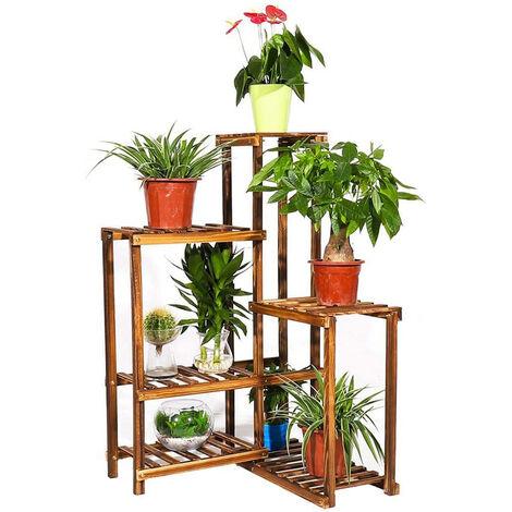 Porte Plantes d'Angle en Bois Étagère à Fleurs Escalier pour Plantes et Objets Décos Idéal pour Balcon Terrasse Jardin Maison - 60 x 60 x 100cm