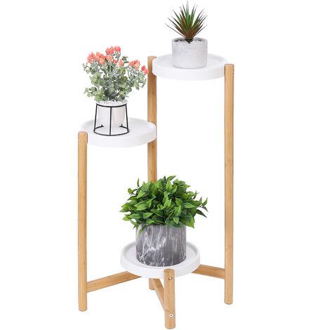 Porte Plantes en Bambou Etagère Fleurs à 3 Niveaux Decoratif pour Jardin Terrasse Chambre