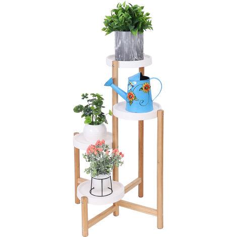 Porte Plantes en Bambou Etagère Fleurs à 4 Niveaux Decoratif pour Jardin Terrasse Chambre