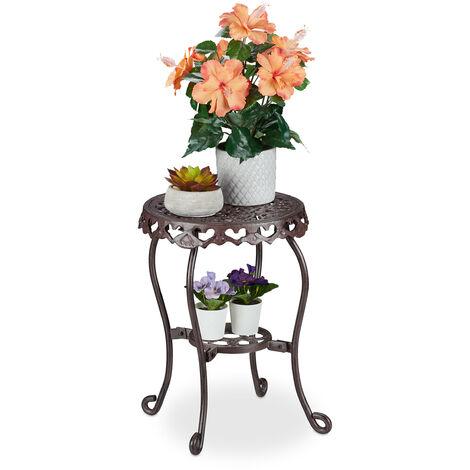 Porte-plantes métal, rond, fonte, H x D 41 x 36,5 cm, support pot de fleur, intérieur & extérieur, marron