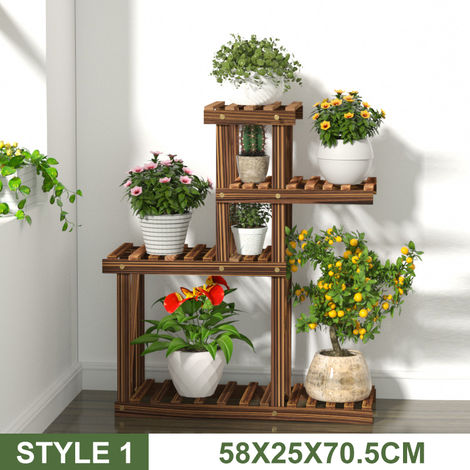 Porte-plantes - Pot de Fleur Support - Étagère Présentoir Jardin Patio Bureau Décoration 58x25x70,5 cm