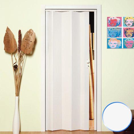 Porte pliante accordèon pvc blanc pastel bouton 83x214 reductible mod. Maya