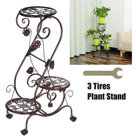 Porte Pot Pots de Plante Fleurs 3 Etagere Support Jardin en Metal FerBrown