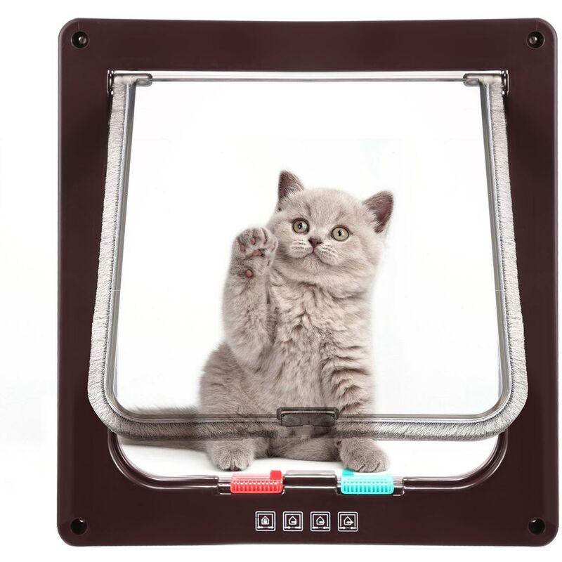 Porte pour animaux domestiques double verrouillable L Brun - Brun