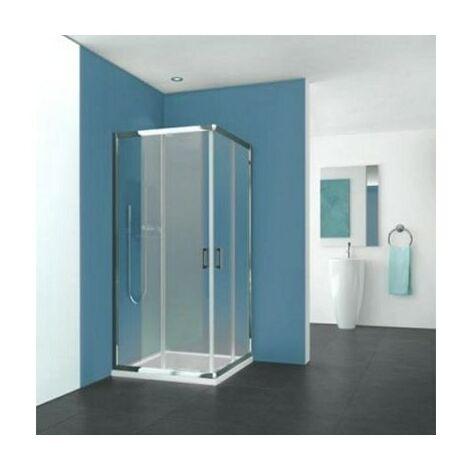 Porte Pyra - Coulissante - 775/790 - Argent poli - Verre transparent