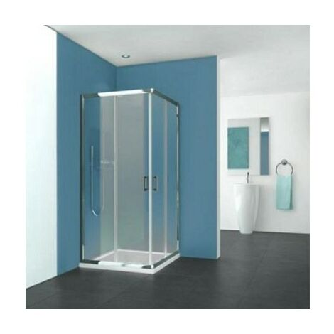 Porte Pyra - Coulissante - 875/890 - Argent poli - Verre transparent