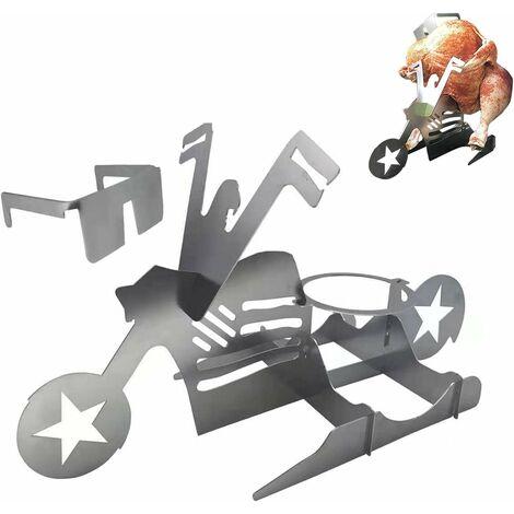 Porte-roquettes de Poulet 1/2, Porte-Poulet Portable Porte-Stand de bière Can Motorcycle American Barbecin en Acier Inoxydable avec des Lunettes pour Barbecue au Four Accessoires grillades