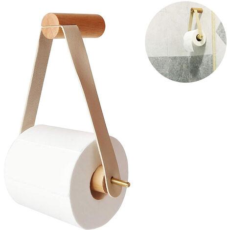 Porte-rouleau de papier toilette en bois, porte-rouleau de papier toilette pour toilette salle de bain support mural rétro porte-rouleau salle de bain décoration vintage, blanc