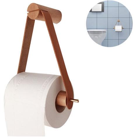 Porte-rouleau de papier toilette en bois, porte-rouleau de papier toilette pour toilette salle de bain support mural rétro porte-rouleau salle de bain décoration vintage, marron