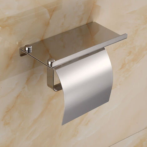 Porte Rouleau Papier - Dérouleur Support pour Sopalin Papier Essuie-Tout - sans percage sur Mur Support de Papier en Acier Inoxydable Adhésif Autocollante pour Cuisine Toilettes Bains,(Argent)