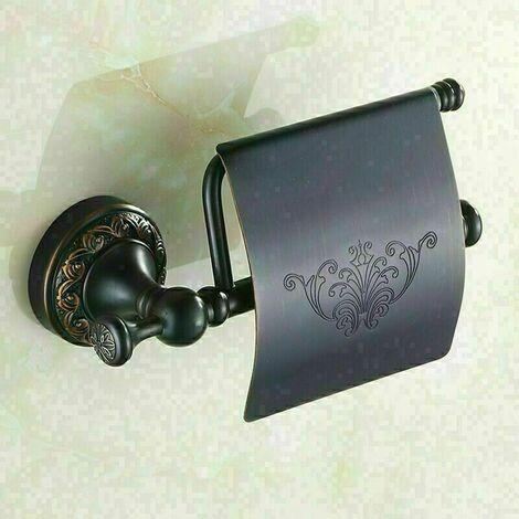 """main image of """"Porte-rouleau papier toilette avec rabat, Laiton brossé, (Noir)"""""""
