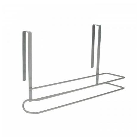 Porte-rouleaux papier cuisine, acier pour portes, comptoirs, meubles. 32,5x18x10 cm.