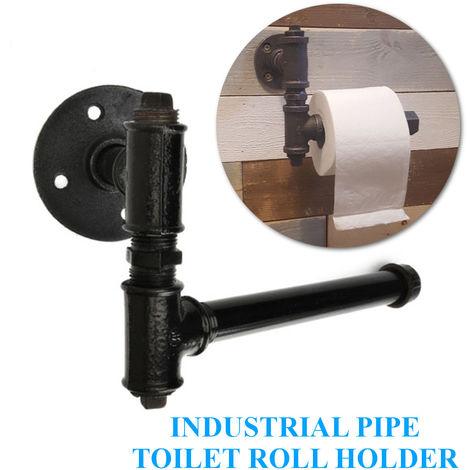 Porte-rouleaux wc pipe industrielle vintage rétro de salle de bain toilette