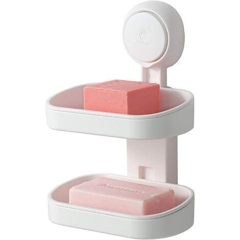 Porte-savon à ventouse double couche, porte-éponge solide pour douche, salle de bain, baignoire et évier de cuisine, sans perceuse, amovible