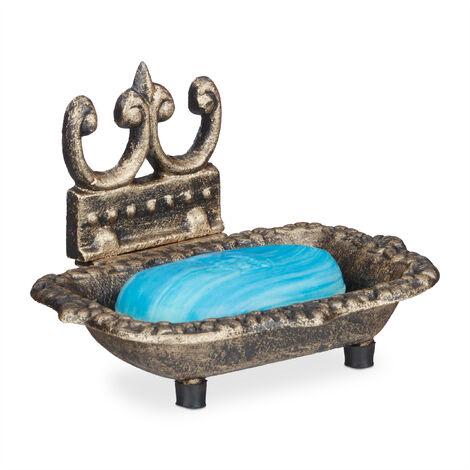 Porte-savon antique en fonte support savon retro vintage bronze HxlxP: 10 x 15 x 11,5 cm, bronze