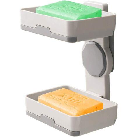"""main image of """"Porte-savon auto-videur 2 pièces, boîte à savon rotative en plastique, porte-savon sans perçage avec adhésif puissant, pour étagère de douche, cuisine"""""""