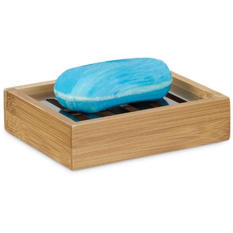 Porte-savon bambou rectangle avec grille en inox support pour savon nature salle de bain HxlxP: 3 x 12,5 x 10 cm, nature