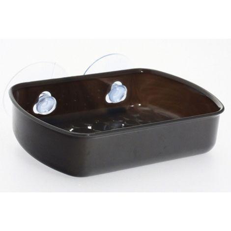 Porte savon de salle de bain ventouse - Galet - Gris opaque - Gris