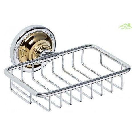 Porte-savon en grille RETRO en chrome-or 14x6,5x14,2 cm