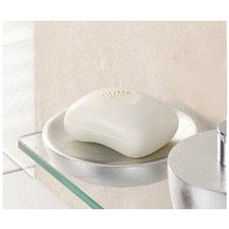 Porte-savon en résine - Diam. 12 cm - Argent - Argent