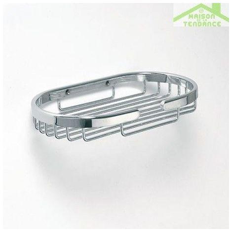 Porte-savon grille oval CYTRO en chrome 11,5x20x3cm